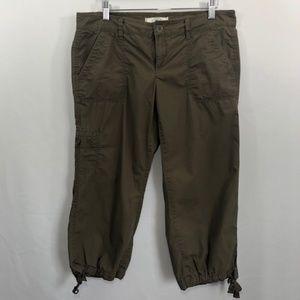 Ann Taylor LOFT Womens 4 Pants Cargo Capri Green